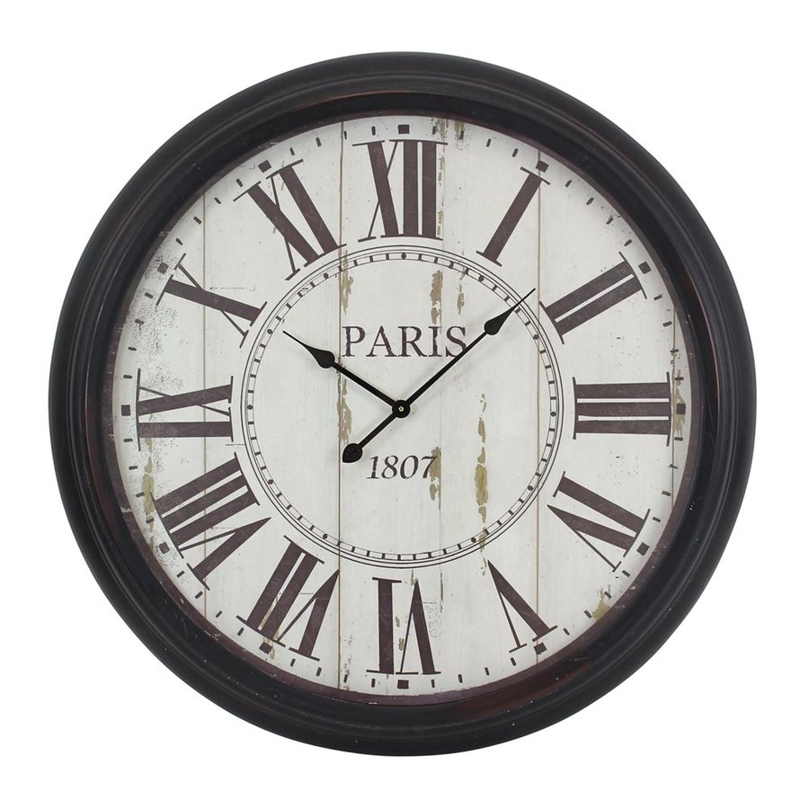 Aspire Home Accents Constance Analog Round Indoor Wall Standard Clock