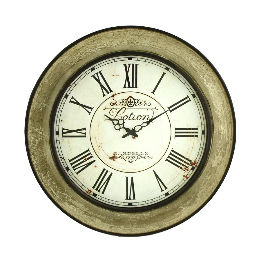 Aspire Home Accents Avery Analog Round Indoor Wall Standard Clock