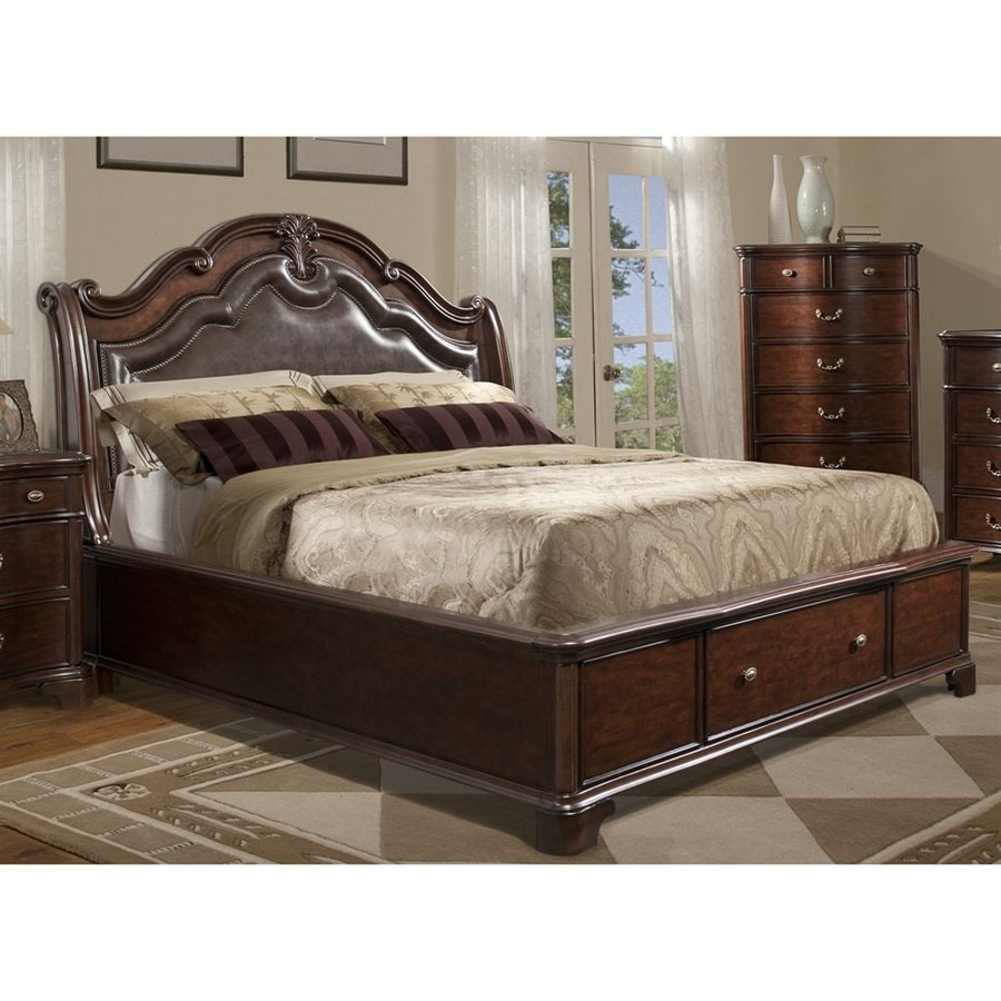 Picket House Furnishings Tomlyn Cherry Queen Platform Bed with Integrated Storage