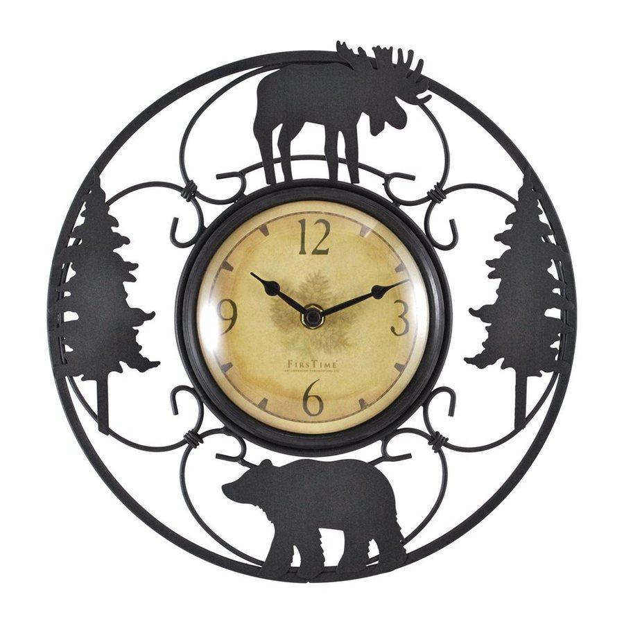 FirsTime Manufactory Wildlife Analog Round Indoor Wall Standard Clock