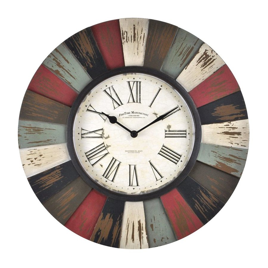 FirsTime Manufactory Reclaimed Burst Analog Round Indoor Wall Standard Clock