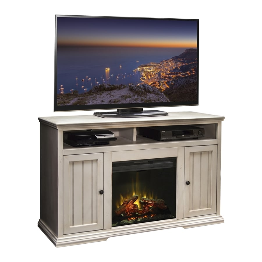 Shop legends furniture 58.75-in w antique white wood electric fireplace with media mantel with thermostat and remote control in the electric fireplaces section of Lowes.com