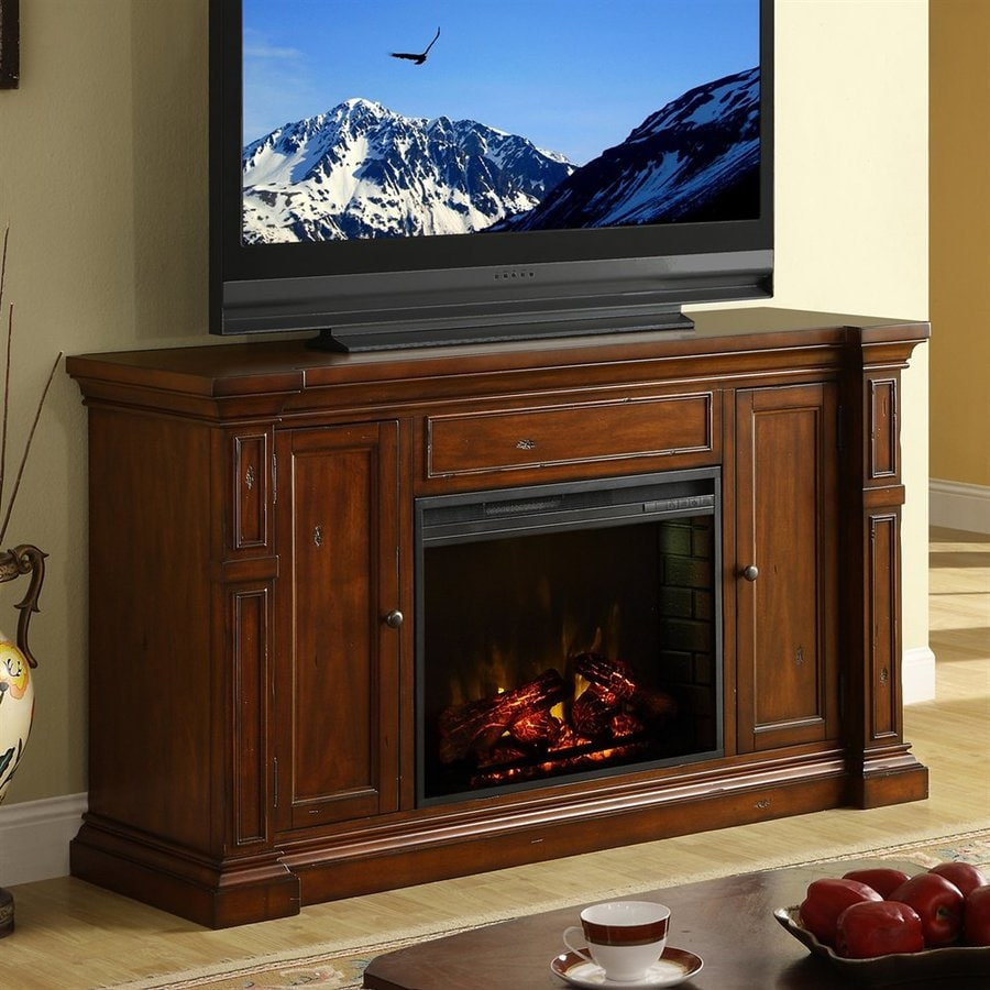 Legends Furniture 52-in W 4600-BTU Old World Umber Wood Fan-Forced Electric Fireplace with Media Mantel with Thermostat and Remote Control