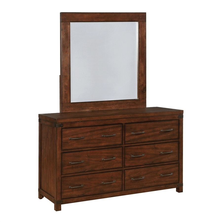Scott Living Dark Cocoa Asian Hardwood 6-Drawer Double Dresser with Mirror