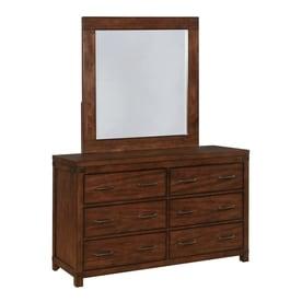 Scott Living Dark Cocoa Asian Hardwood 6 Drawer Double Dresser With Mirror