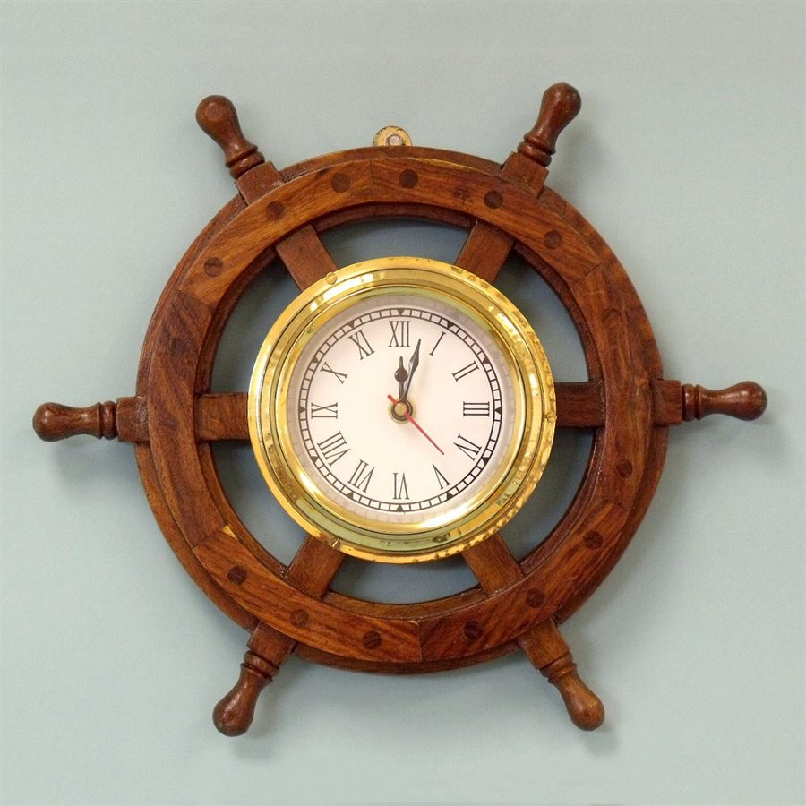 Handcrafted Nautical Decor Analog Novelty Indoor/Outdoor Wall Clock