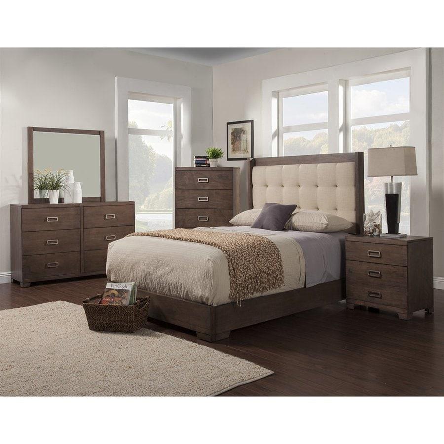 Alpine Furniture Savannah Pecan Queen Platform Bed