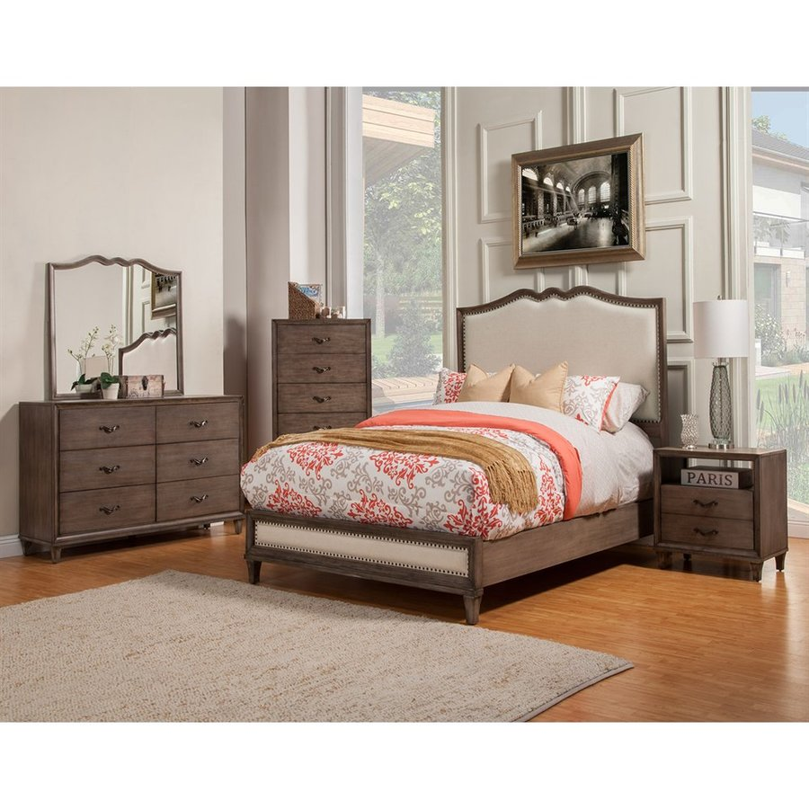 Alpine Furniture Charleston Antique Grey California King Panel Bed