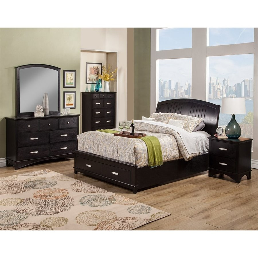 Shop Alpine Furniture Madison Dark Espresso Full Platform Bed With Storage At