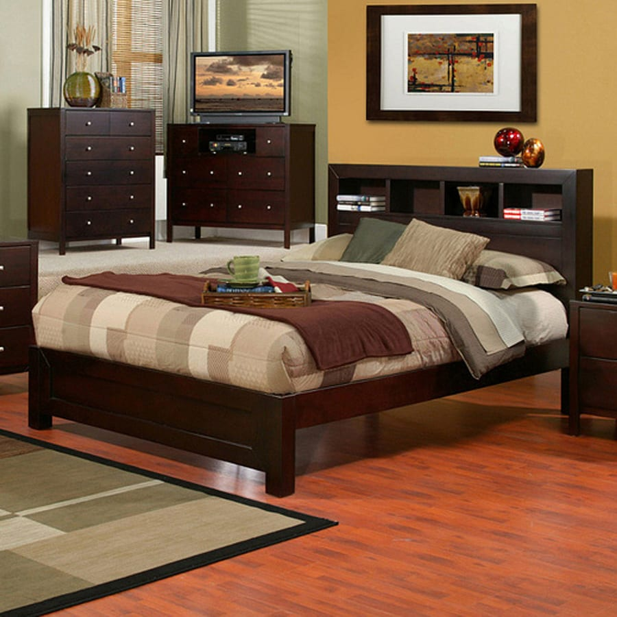 Alpine Furniture Solana Cappuccino King Platform Bed with Storage