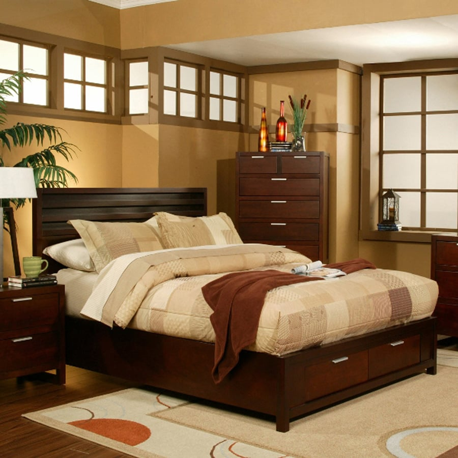 Alpine furniture camarillo merlot california king platform - California king storage bedroom sets ...