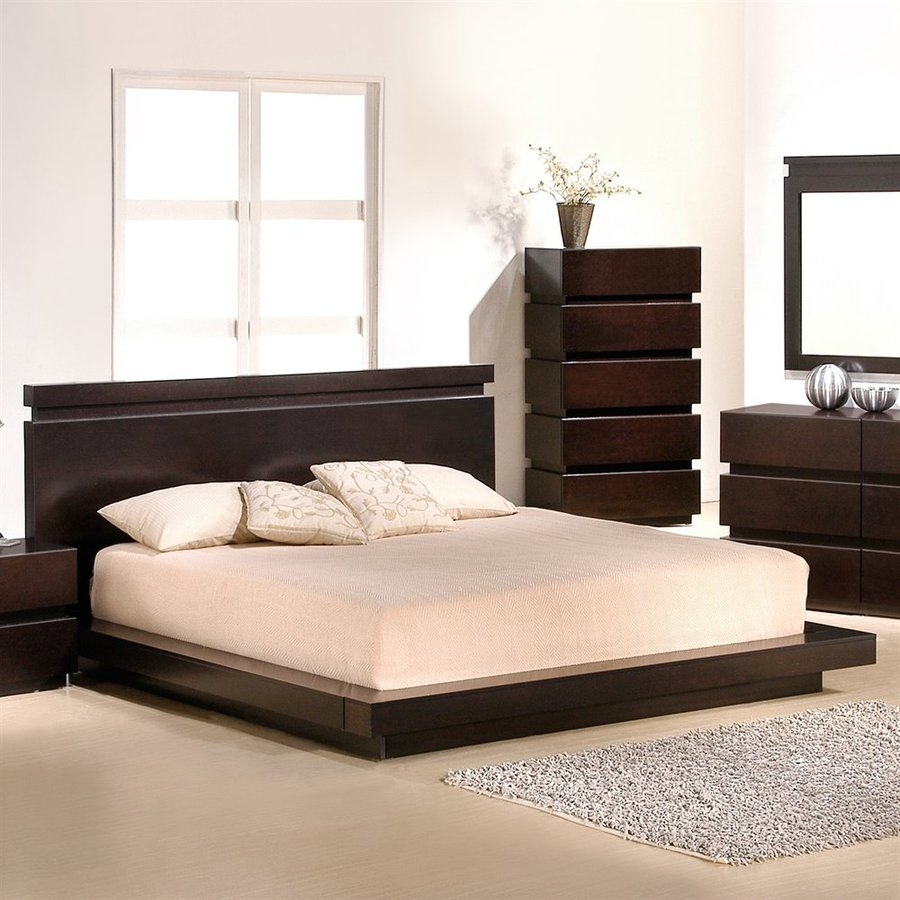 J M Furniture Knotch Espresso Queen Platform Bed At Lowes Com