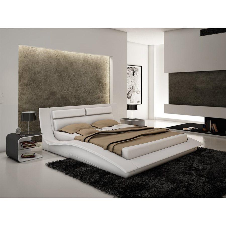 J&M Furniture Wave White Queen Platform Bed