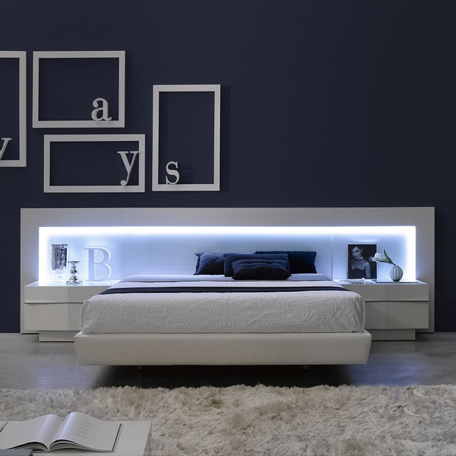 J m furniture valencia white queen platform bed at - White queen platform bedroom set ...