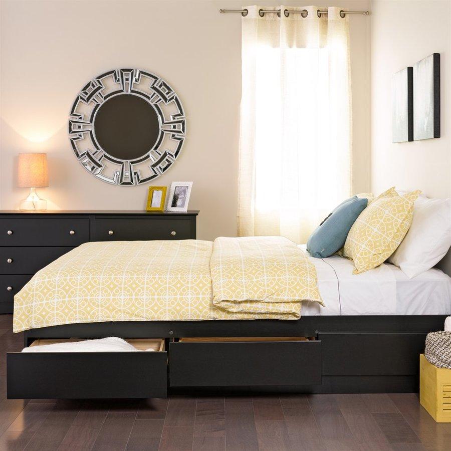 Prepac Furniture Black Full Platform Bed with Storage