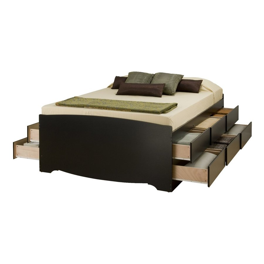 Prepac Furniture Black Full Platform Bed with Storage