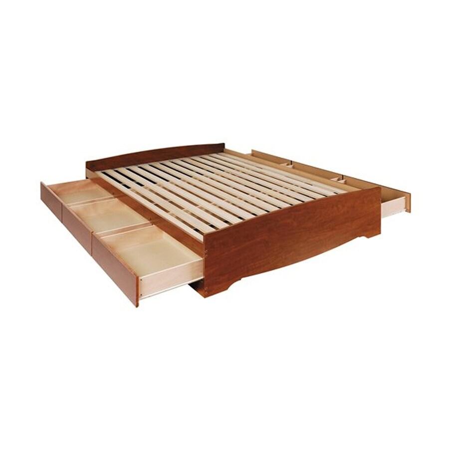 Prepac Furniture Cherry King Platform Bed with Storage