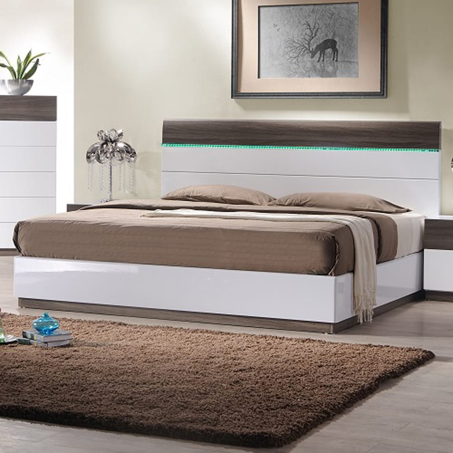 J&M Furniture Sanremo Walnut/White King Platform Bed