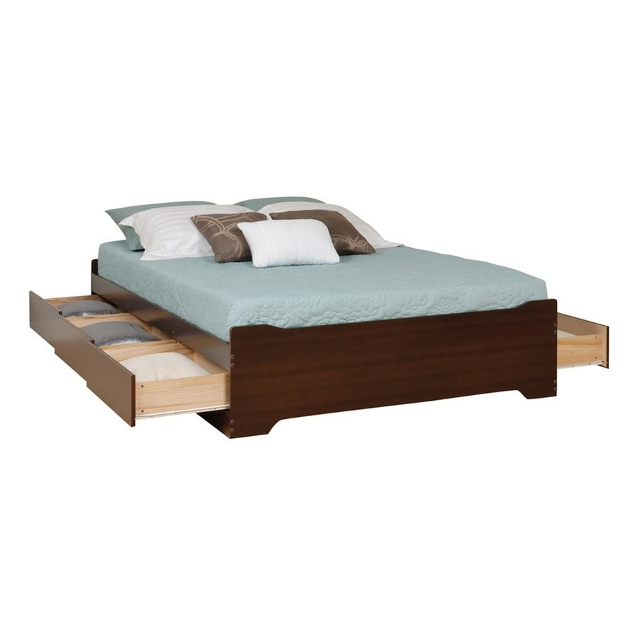 Prepac Furniture Coal Harbor Espresso Queen Platform Bed with Storage