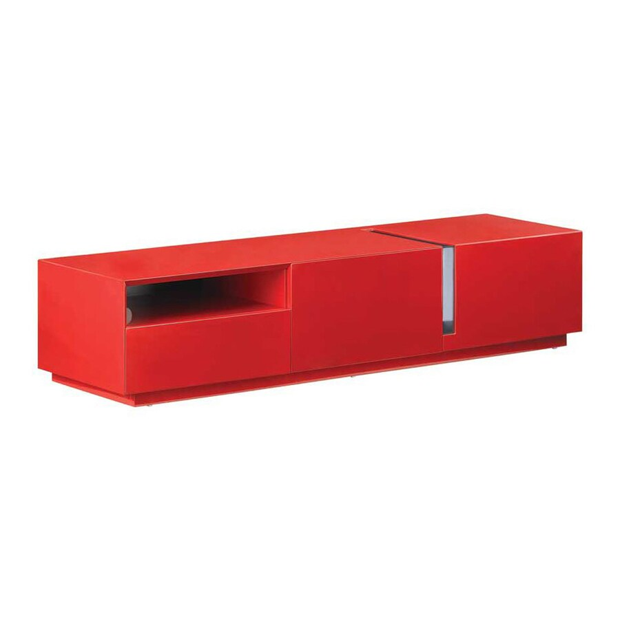 Ju0026M Furniture Red High Gloss Rectangular TV Cabinet