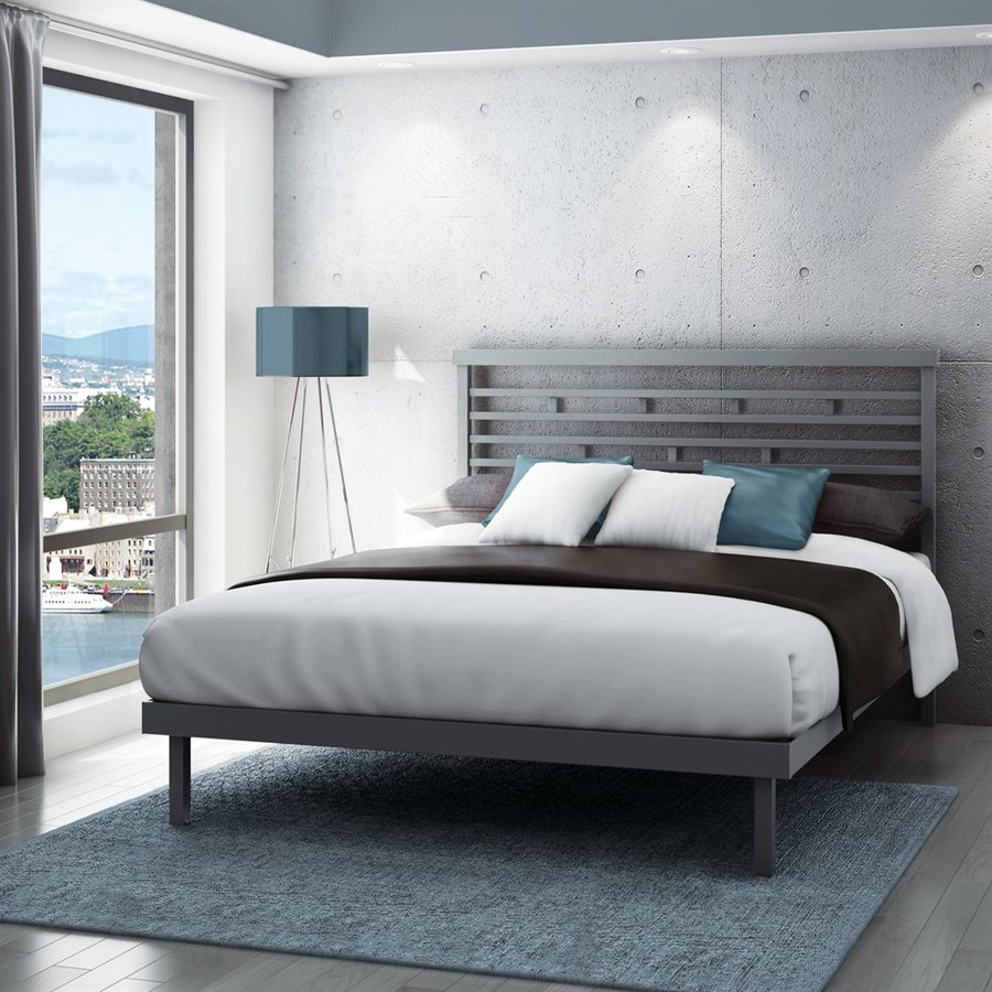 Amisco Highway Glossy Grey Queen Platform Bed
