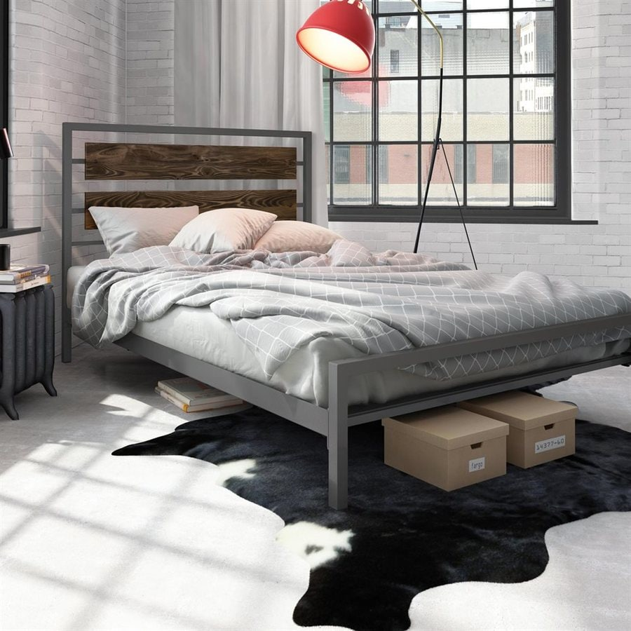 Amisco Fargo Dark Grey Queen Platform Bed