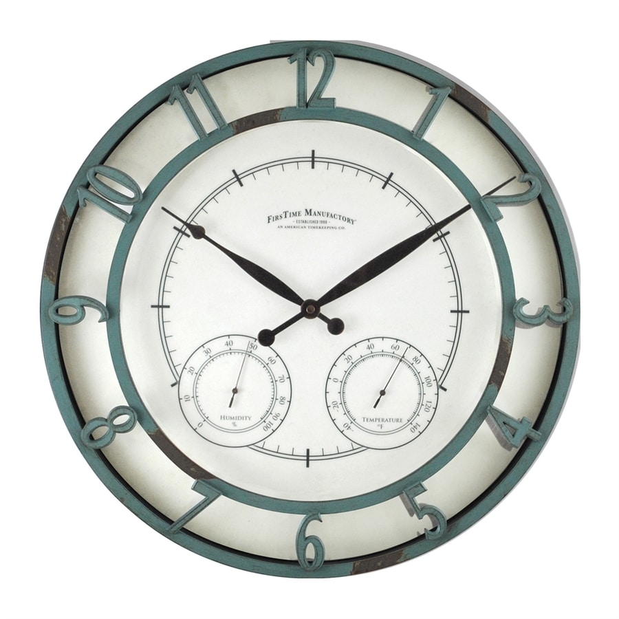FirsTime Manufactory Laguna Analog Round Indoor/Outdoor Wall Combination Clock