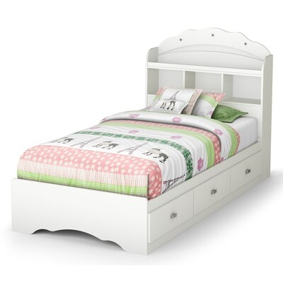 South S Furniture Tiara Pure White Twin Captain Bed With