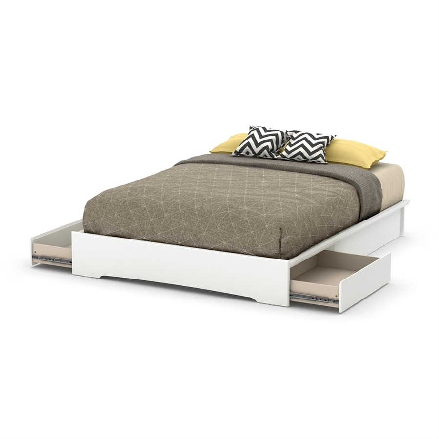 South Shore Furniture Basic Pure White Queen Platform Bed with Storage