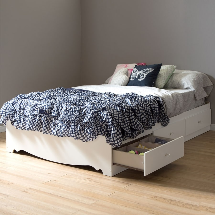 South Shore Furniture Crystal Pure White Full Captain Bed with Storage