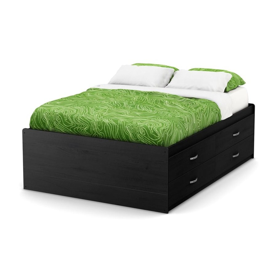 South Shore Furniture Lazer Black Onyx Full Captain Bed with Storage