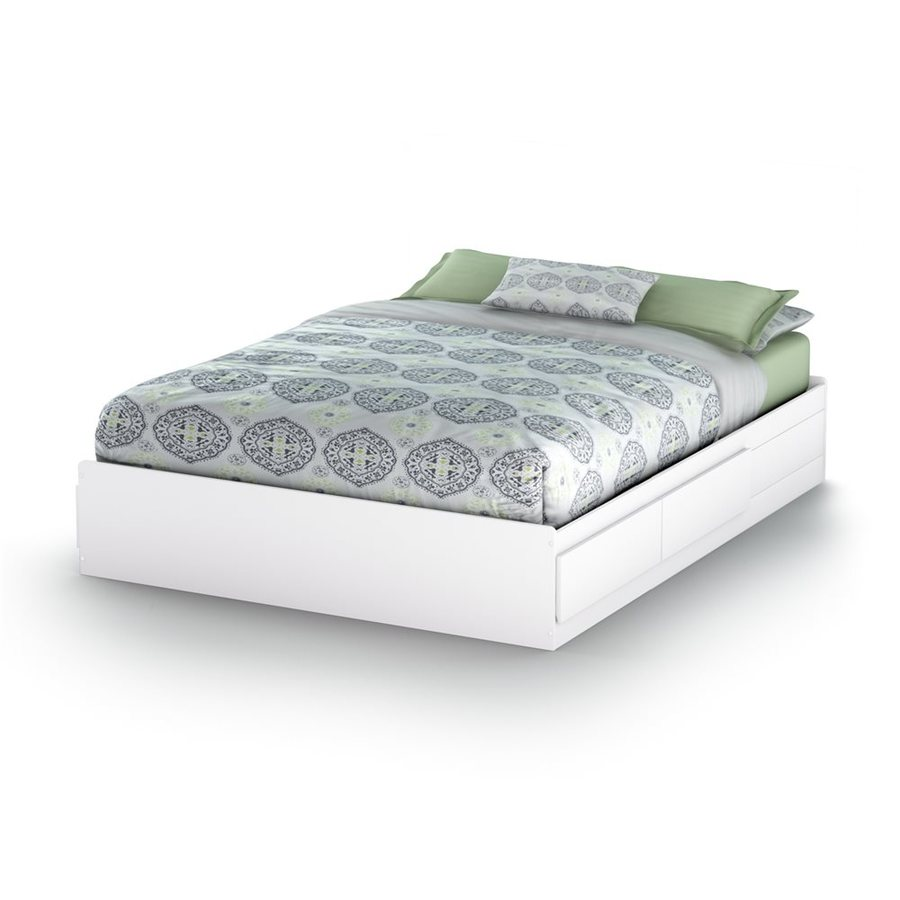 South Shore Furniture Fusion Pure White Queen Platform Bed with Storage