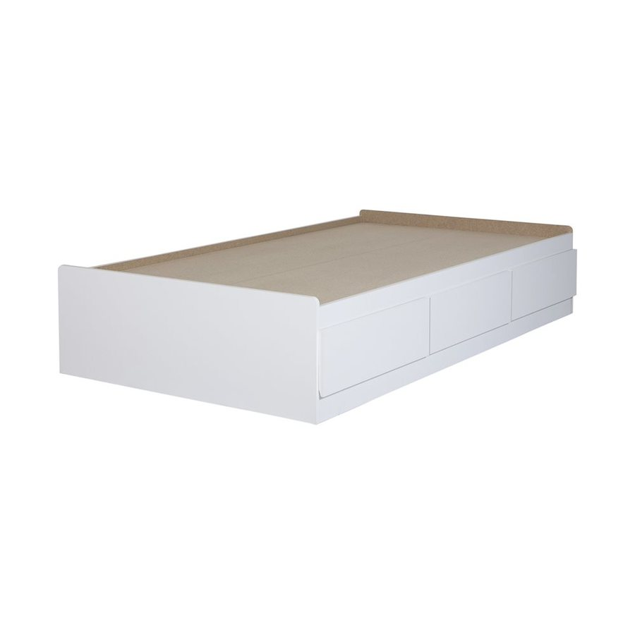 South Shore Furniture Fusion Pure White Twin Captain Bed with Storage