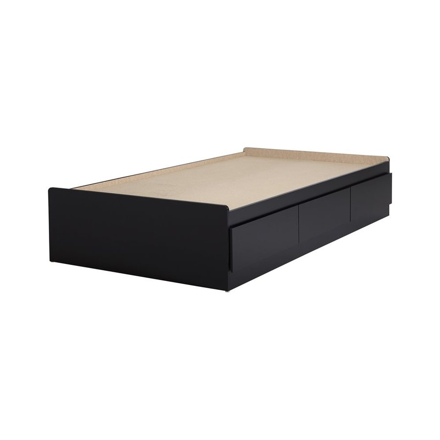 South Shore Furniture Fusion Pure Black Twin Captain Bed with Storage