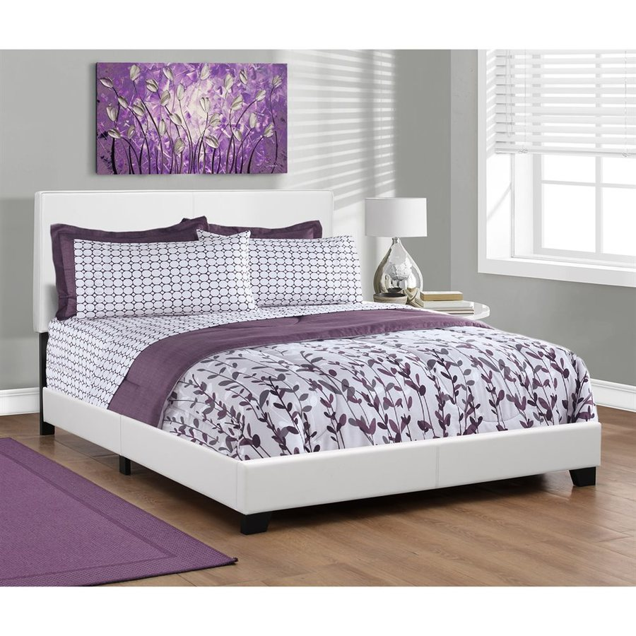 Monarch Specialties White Queen Upholstered Bed