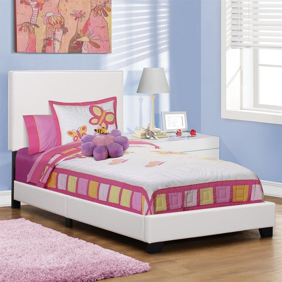 Monarch Specialties White Twin Upholstered Bed