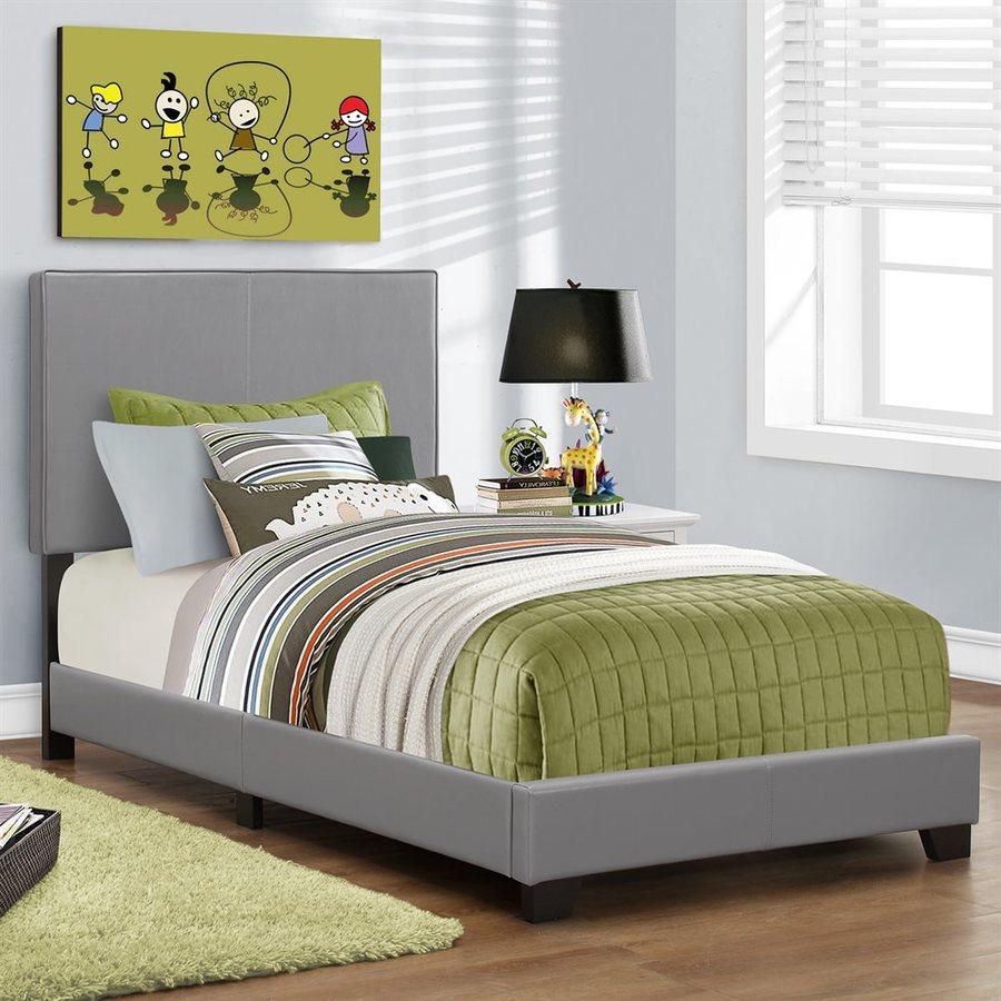 Monarch Specialties Grey Twin Upholstered Bed