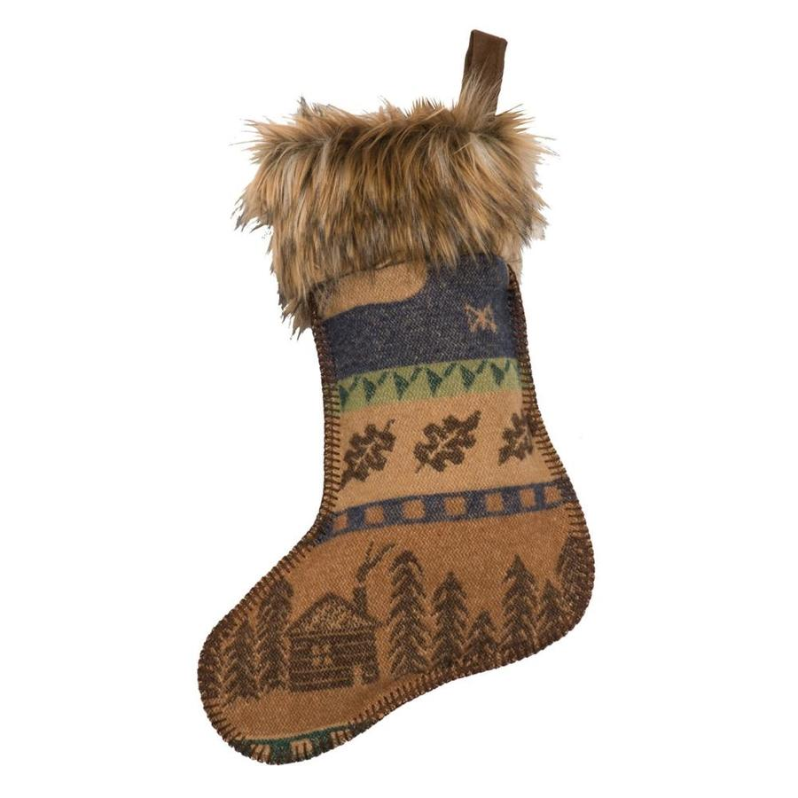 Wooded River 20-in Brown Fur Christmas Stocking