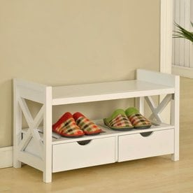 KB Furniture Transitional White Storage Bench