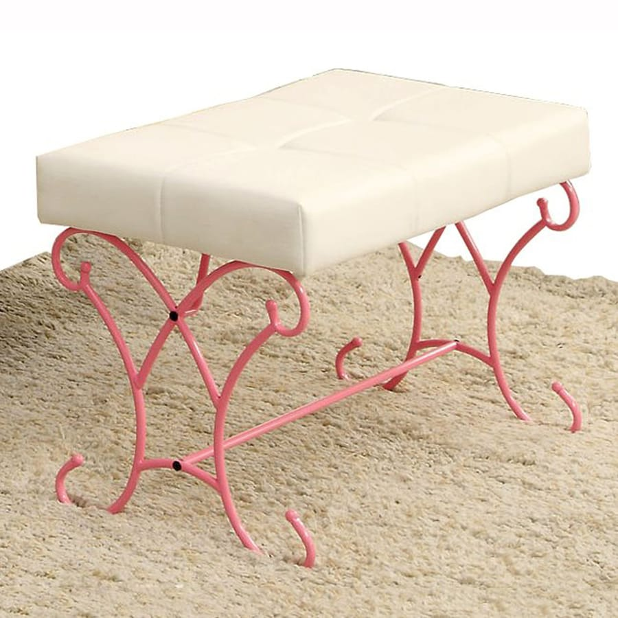 Furniture of America Enchant Transitional White/Pink Accent Bench