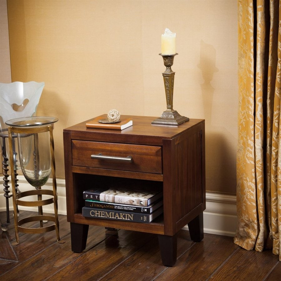 Best Selling Home Decor Luna Brown Mahogany Acacia Nightstand