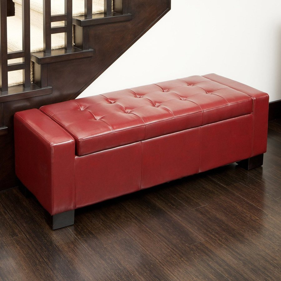 Best Selling Home Decor Guernsey Transitional Red Bonded Leather Storage Ottoman Bench