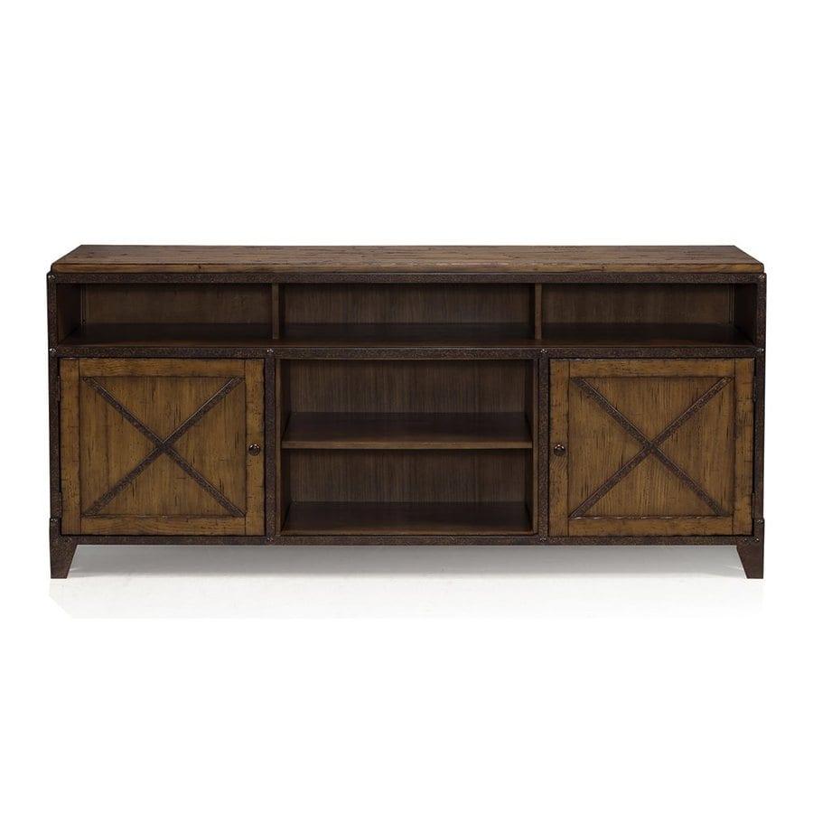 Magnussen Home Pinebrook Distressed Natural Pine Rectangular TV Cabinet