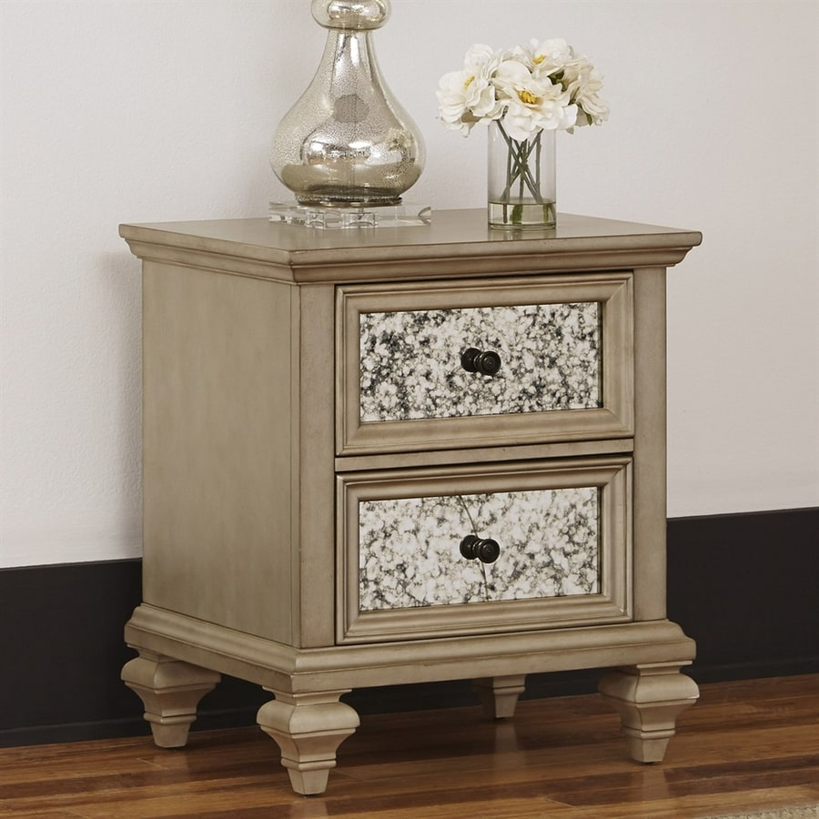 Home Styles Visions Silver Gold Champagne Mahogany Nightstand