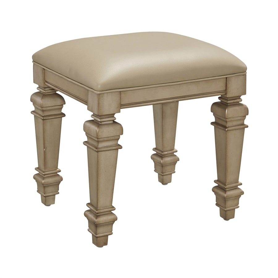 Home Styles 18.75-in H Gold Champagne Square Makeup Vanity Stool