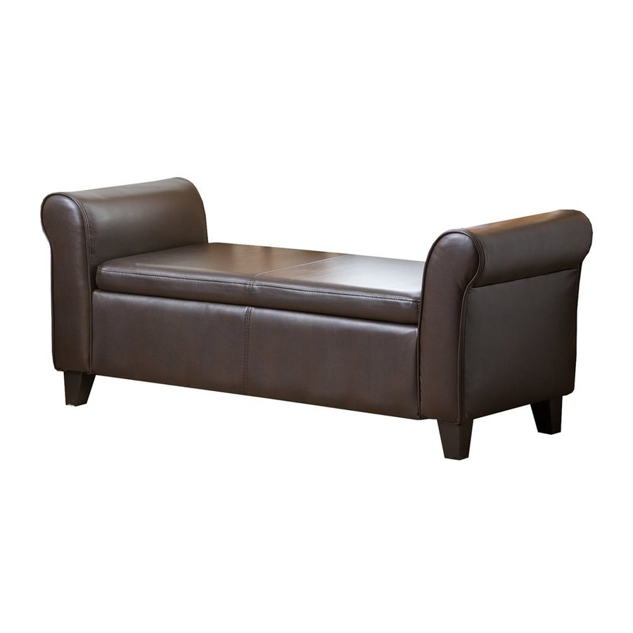 Pacific Loft Terna Nely Transitional Dark Brown Storage Bench