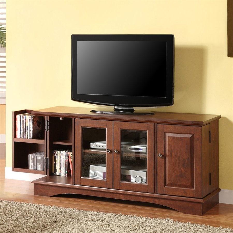 Walker Edison Brown Rectangular TV Cabinet