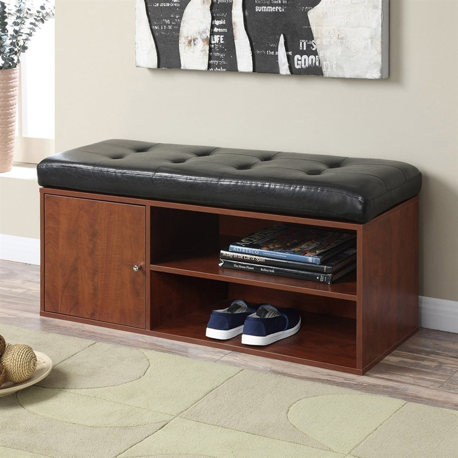 Convenience Concepts Designs4Comfort Transitional Cherry/Black Storage Bench