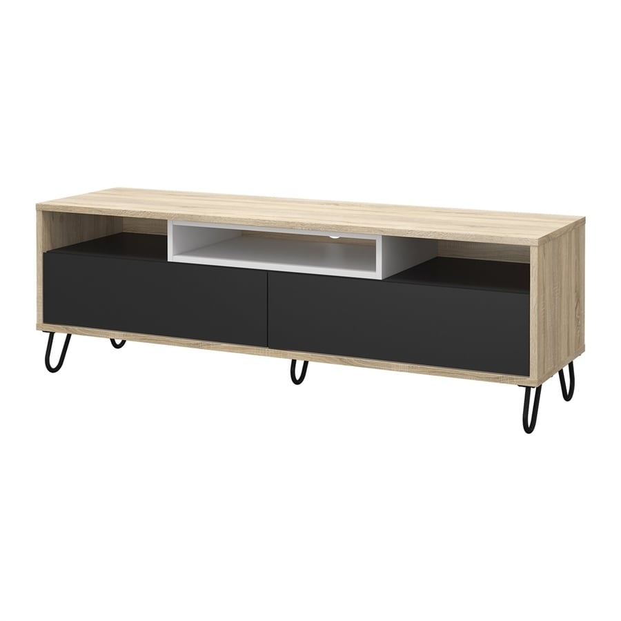 Tvilum Match Oak/Dark Grey/White Rectangular TV Cabinet