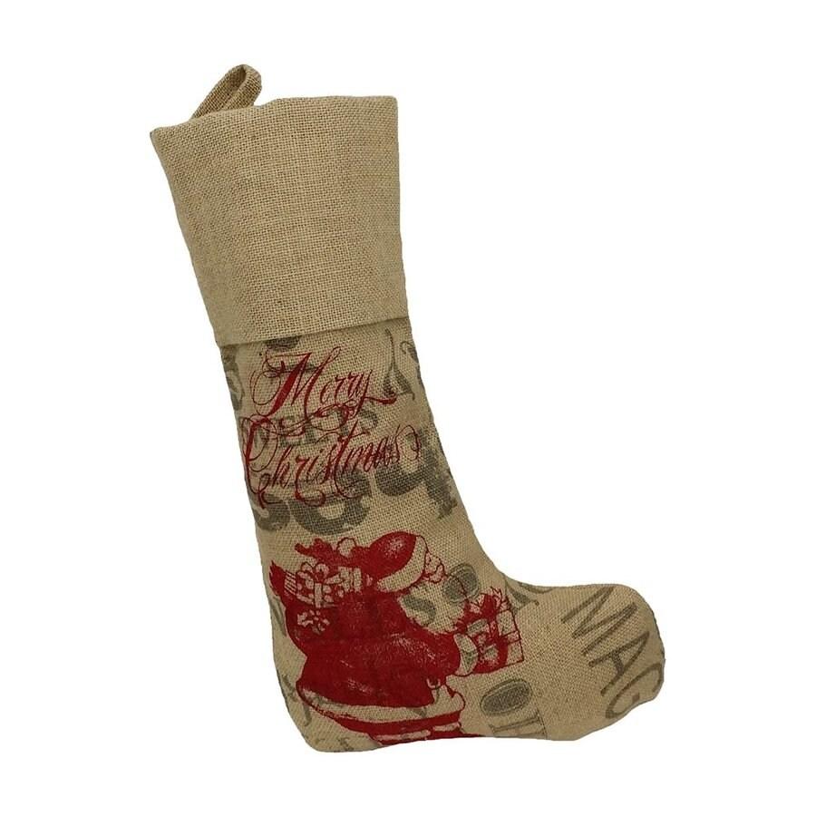 XIA Home Fashions 15-in Brown Santa Christmas Stocking
